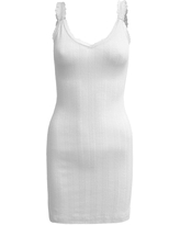 RE NAMED Lace Trim Pointelle Knit Bodycon Mini Dress, Size Large in White at Nordstrom Rack