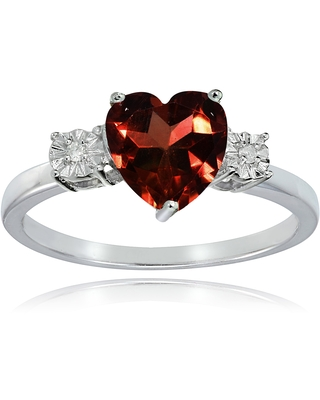 Glitzy Rocks Sterling Silver African Garnet and Diamond Accent Heart Ring (5)