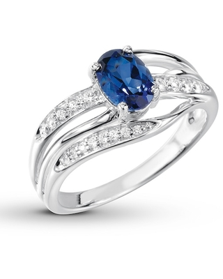Blue & White Lab-Created Sapphire Ring Sterling Silver