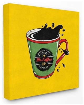 Stupell Industries Mr. Coffee Vintage Comic Book Yellow Design Canvas Wall Art by Ester Kay