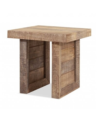 Solid Wood Butcher Block Style End Or Side Table