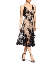 Dress the Population Audrey Embroidered Fit & Flare Dress, Size Xx-Small in Black/Nude at Nordstrom
