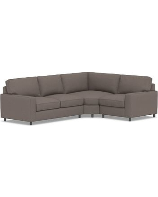 PB Comfort Square Arm Upholstered Left Arm 3-Piece Wedge Sectional, Box Edge Down Blend Wrapped Cushions, Performance Brushed Basketweave Charcoal