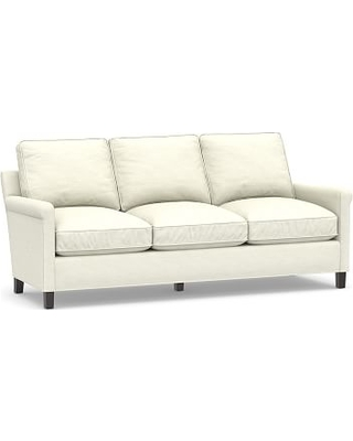 "Tyler Roll Arm Upholstered Sofa 78"" without Nailheads, Down Blend Wrapped Cushions, Performance Slub Cotton Ivory"