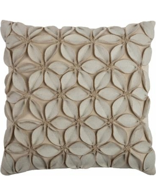 Rizzy Home Textured Floral Throw Pillow, White