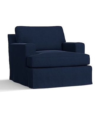 Townsend Square Arm Slipcovered Armchair, Polyester Wrapped Cushions, Performance Everydayvelvet(TM) Navy