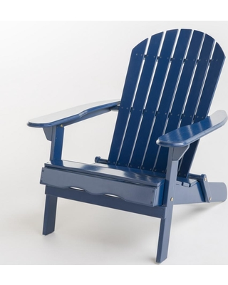Le House Hanlee Navy Blue Folding Wood Adirondack Chair