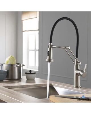 F01 208 02 Single Handle Pull Down Kitchen Faucet - Brush