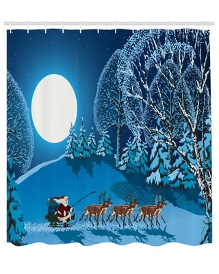 "Christmas Santa Winter Forest Single Shower Curtain The Holiday Aisle® Size: 75"" H x 69"" W"