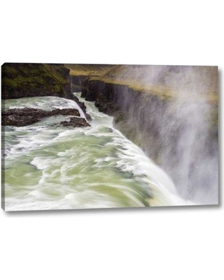 """Millwood Pines 'Iceland Misty Gulfoss Waterfall and River' Photographic Print on Wrapped Canvas BF152257 Size: 10"""" H x 16"""" W x 1.5"""" D"""