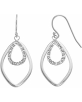 Diamond Mystique Platinum Over Silver Accent Double Marquise Teardrop Earrings, Women's, White