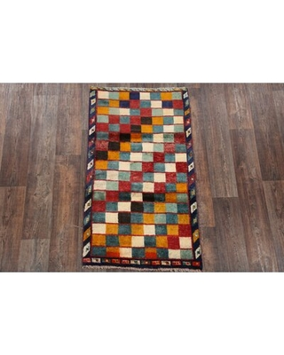 """One-of-a-Kind Koopman Hand-Knotted 1980s Gabbeh Yellow/Red/Navy Blue 2'9"""" x 4'10"""" Wool Area Rug Isabelline"""