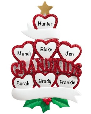 Grandkids Hearts Family of 7 Holiday Shaped Ornament