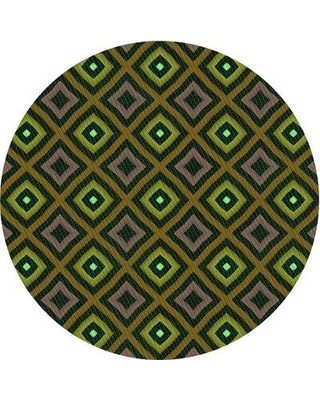 East Urban Home Geometric Wool Green/Yellow Area Rug X111798180 Rug Size: Square 5'