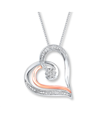 Heart Necklace Diamond Accents Sterling Silver/10K Rose Gold