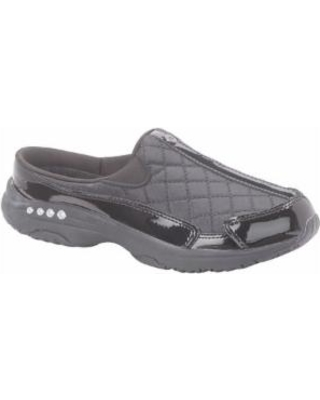 Women's Easy Spirit Traveltime Leather Clogs, Black, Size 8 Wide Widthide