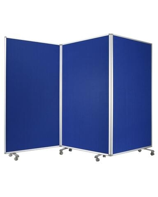 BM205792 Accordion Style Fabric Upholstered 3 Panel Room Divider Blue and