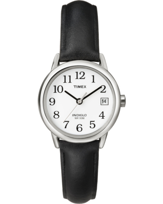 Timex Watch Women's Easy Reader 25MM Leather Strap Silver-Tone/black/white Item # T2H3319J