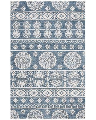 Charlton Home Leavens Hand-Tufted Wool/Cotton Blue/Ivory Area Rug W001401441 Rug Size: Rectangle 5' x 8'