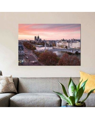 """East Urban Home 'Romantic Sunset Over Paris' By Matteo Colombo Graphic Art Print on Wrapped Canvas ETRC6738 Size: 8"""" H x 12"""" W x 0.75"""" D"""