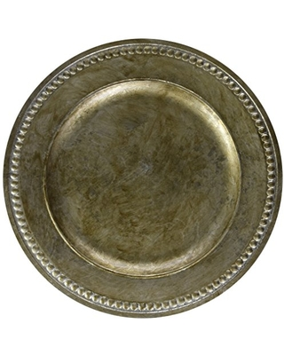 ChargeIt by Jay Beaded Round Charger Plate, 14-Inch, Silver