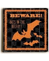 """The Holiday Aisle 'Spooky - Bats' Graphic Art Print on Wood THDA1493 Size: 13"""" H x 13"""" W"""