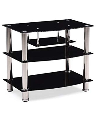 """Hodedah Four Shelve Tempered Glass TV Stand, Accommodates TV's up to 32"""", Black"""
