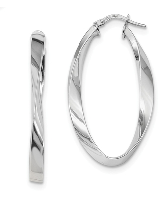 Curata 925 Sterling Silver Rhodium plated Polished Oval Twisted Hoop Earrings (24mm x 43mm) (White)