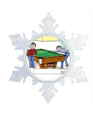 The Holiday Aisle® Personalized Friendly Folks Cartoon Snowflake Billiards Pool Player Christmas Holiday Shaped Ornament X111047959