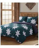 Country Living Christmas Carol Quilt 3 Piece Set, Twin - Navy