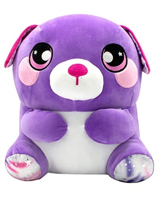 "Plumps 12"" Snuggly Stuffed Animal -- Purple Dog"