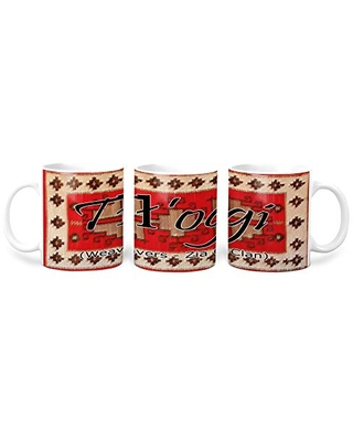Tl'ogi (Weavers - Zia) Navajo Clan with Red Rug Background on 11 Ounce White Coffee Mug