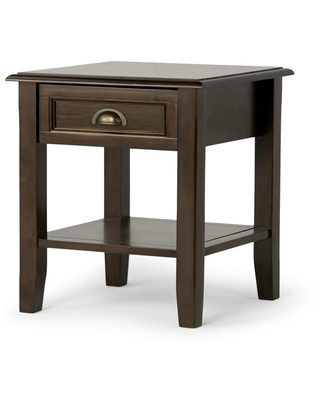 Brooklyn + Max Berkshire Solid Wood 18 inch Wide Square Traditional End Side Table in Mahogany Brown
