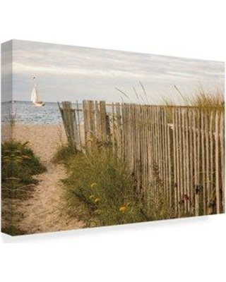 "Highland Dunes 'Along the Beach Fence II' Acrylic Painting Print on Wrapped Canvas W000185900 Size: 30"" H x 47"" W x 2"" D"