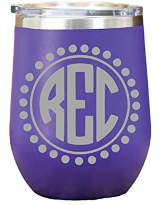 Tumbler Personalized - Monogram Tumbler - Personalized Gifts - Wine Glasses For Women - Wine Tumbler With Lid