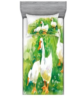 Goose in Farm Lake Plants Grass Reeds Flowers Pond Animals Geese Feathers Sheet Set