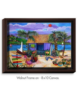 """Bay Isle Home 'Island Time' Print on Canvas CAN Format: Walnut Framed Size: 12.75"""" H x 15.75"""" W x 1.75"""" D"""
