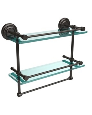 """16-inch Gallery Double Glass Shelf with Towel Bar - 16""""L (Oil Rubbed bronze)"""