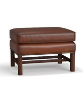 Thatcher Leather Ottoman, Polyester Wrapped Cushions, Leather Burnished Saddle