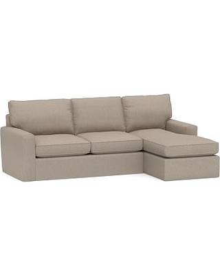 Pearce Square Arm Slipcovered Left Arm Loveseat with Chaise Sectional, Down Blend Wrapped Cushions, Sunbrella(R) Performance Sahara Weave Mushroom
