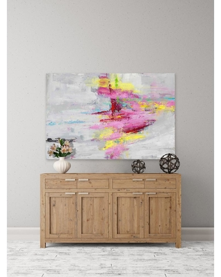"""PARVEZ MICHEL 16 in. H x 24 in. W """"Essence IV"""" by Julie Joy Printed Canvas Wall Art, Multi-Colored"""