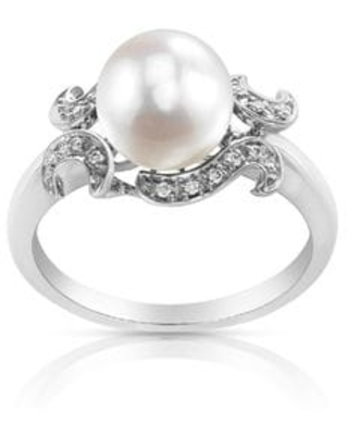 Radiance Pearl 14k Gold White Akoya Pearl and Diamond Accent Ring (6.5 - White)