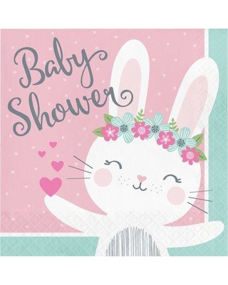 """The Holiday Aisle® Mckee Bunny Party Baby Shower 6.5"""" Paper Disposable Napkins, Paper in White/Pink, Size 6""""H X 6""""W 