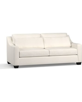 """York Slope Arm Upholstered Deep Seat Sofa 80"""", Down Blend Wrapped Cushions, Denim Warm White"""