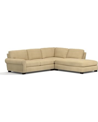 Turner Roll Arm Upholstered Left 3-Piece Bumper Sectional, Down Blend Wrapped Cushions, Performance Everydaysuede(TM) Oat