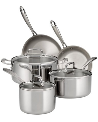 Tramontina 8-Piece Tri-Ply Clad Stainless Steel Cookware Set, with Glass Lids