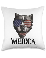 USA & 4th of July Dog Lover Gifts by Art Like Wow Dog Pitbull American Flag Sunglasses 4th Of July 'Merica USA Throw Pillow, 18x18, Multicolor