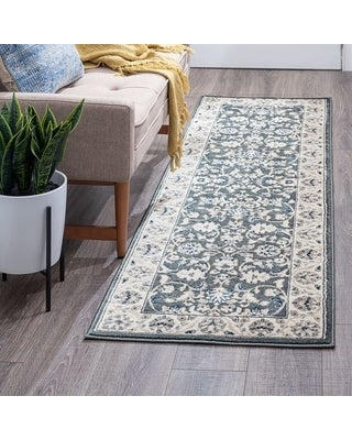 Alise Rugs Carrington Traditional Floral Area Rug (2'3'' x 7'3'' - Gray)