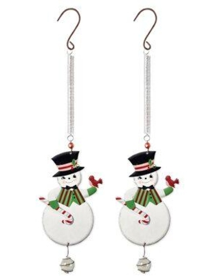 New Deal For The Holiday Aisle Set Of 2 Snowman Bouncy Hanging Figurine Ornament Metal In White Size 12 H X 5 W X 1 D Wayfair