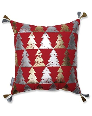 """Pillow Perfect Tree Farm Decorative Throw Pillow, 18"""", Red/Gold/Silver"""